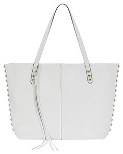 Rebecca Minkoff Leather Studded White Gold Tote in White/Gold