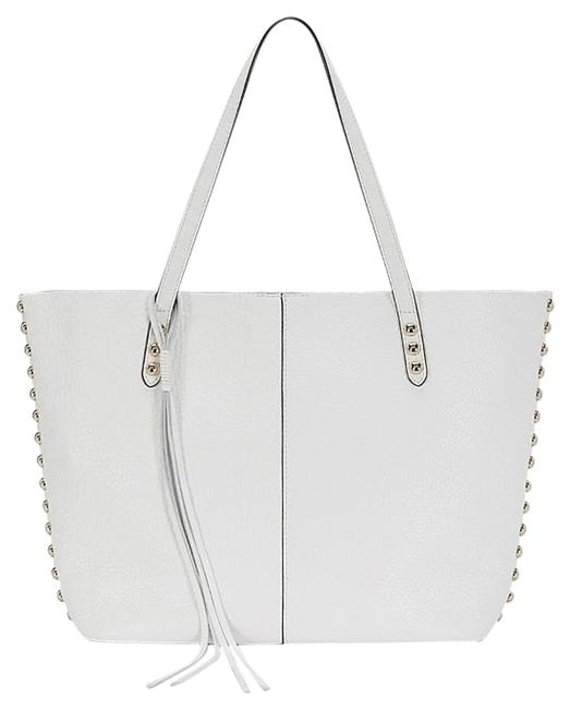 Item - New Unlined Studded White/Gold Leather Tote