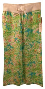 Lilly Pulitzer Beach Elephant Ears Pink Green Relaxed Pants Multi