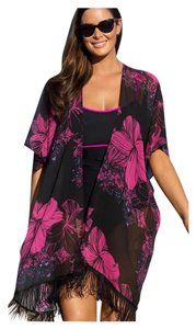 Other SUMMER SALE New Plus Size Black and Pink Fringe Cardigan Coverup