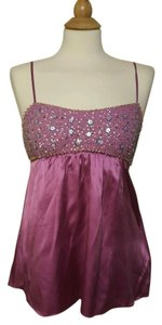 Rebecca Taylor Silk Sequin Beaded Top Pink
