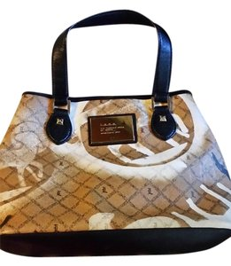 L.A.M.B. Tote in light brown, with black and white pattern