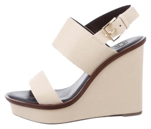 Tory Burch Leather Lexington Beige/Ivory Wedges
