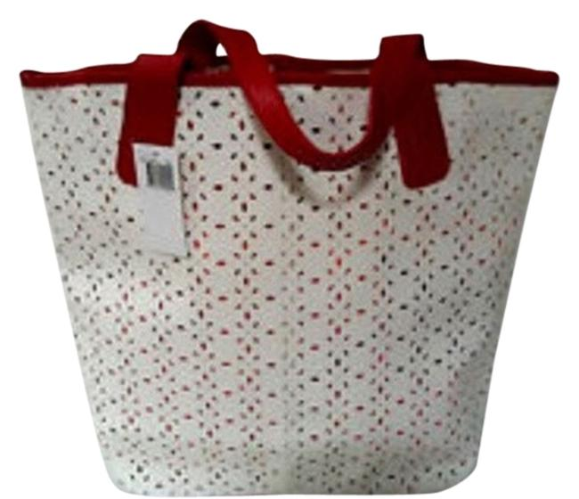 Item - Perforated Leather White & Ref Tote