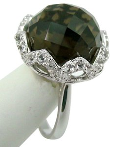 Opulent Opaques Opulent Opaques 14.62ct Smoky Quartz and White Topaz Sterling Silver Ring - Size 7