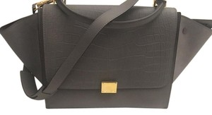 Céline Suede Satchel in Gray croc embossed