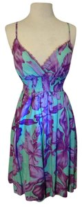 She's cool short dress teal and purplr Flirty Floral Summer Violet Knee Length Aqua on Tradesy