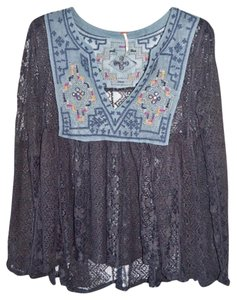 Free People Black Lace Embroidered Blue Top