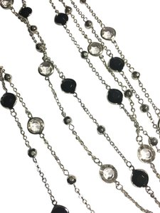 Black and white long necklace