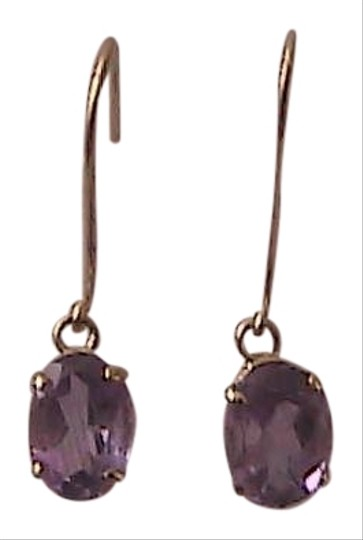 Unknown Genuine 1.6 cts 10k Yellow Gold Amethyst Dangling Earrings