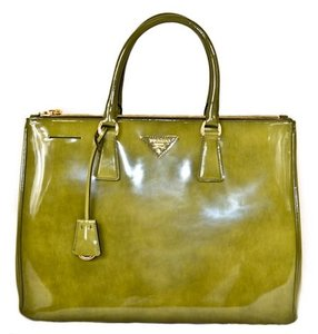Prada Green Patent Canvas Satchel in Olive