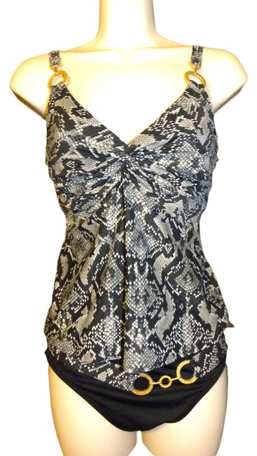 Coco Reef COCO REEF~PERFECTION FIT UNDERWIRE SNAKESKIN BELTED TANKINI~32C Med