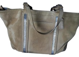Coach Suede Beaded Tote in Beige