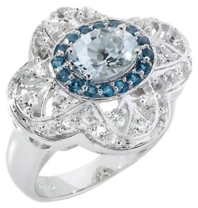 Victoria Wieck Victoria Wieck 1.85ct Oval Aquamarine and London Blue Topaz Sterling Slver Ring - Size 7