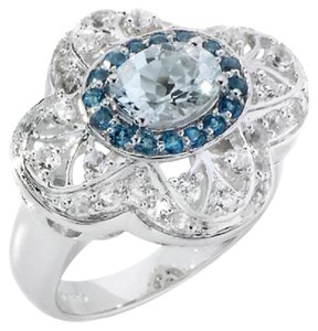 Victoria Wieck Victoria Wieck 1.85ct Oval Aquamarine and London Blue Topaz Sterling Slver Ring - Size 6