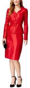 Le Suit Three-Button Red Skirt Suit Size 8