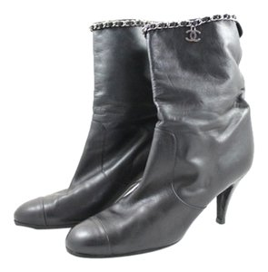 Chanel Chain Cc Charm Ankle Black Lambskin Boots