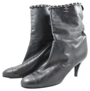 Chanel Black Leather 'cc' Charm And Chain Black Lambskin Boots