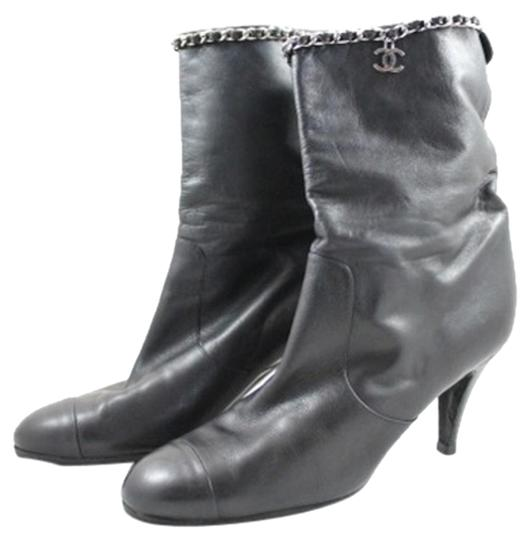 Chanel Leather 'cc' Charm And Chain Black Lambskin Boots