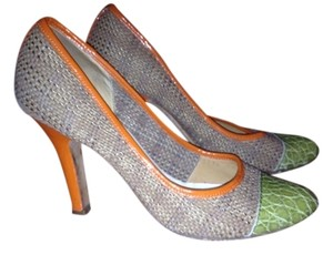 Prada Tan Raffia with Green Alligator Leather and Orange Patent Leather Piping Pumps