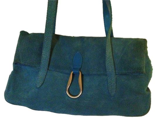 Wilsons Leather Handbag Satchel in Blue Turquoise