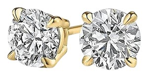 LoveBrightJewelry 4 Prong Set Natural Diamond Stud Earrings Yellow Gold