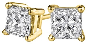 LoveBrightJewelry Prong Set Princess Cut Natural Diamond Studs 14K Gold