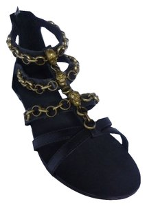 Ash Leather Sandal Flat Black Sandals