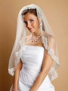 Mariell Mantilla White Lace Wedding Veil Threaded With Silver Chain