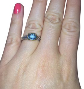 David Yurman David Yurman Noblesse Ring With Blue Topaz And Gold
