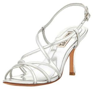 Badgley Mischka Leather Silver Sandals