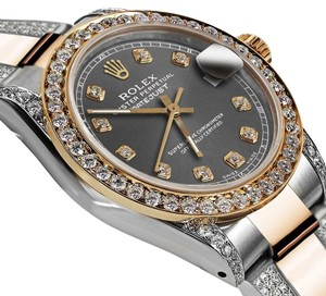 Rolex Women's 31mm Oyster Perpetual Datejust Dark Gray Diamond Dial Accent
