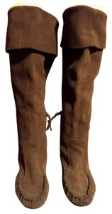 Miu Miu Spring Summer Moccassin Knee High Suede brown Boots