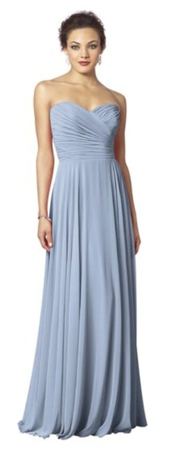 Item - French Blue Color 461 Chiffon Strapless Ruched Sweetheart Gown Formal Bridesmaid/Mob Dress Size 6 (S)