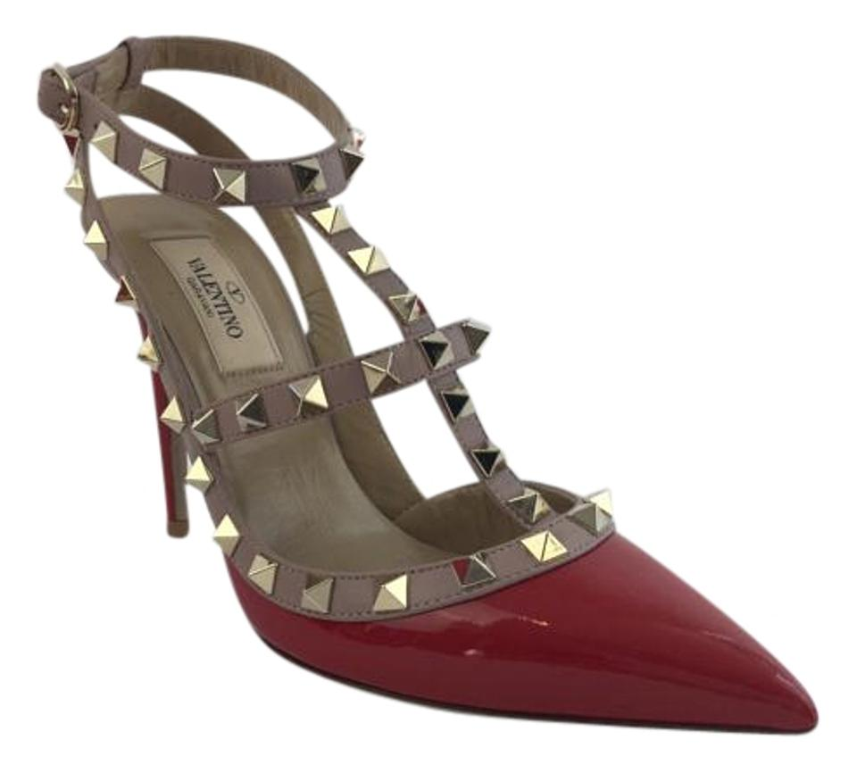 WOMEN Valentino Red/Nude Pumps 'rockstud' T-strap Pumps Red/Nude selling price 02680b