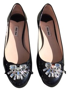 Miu Miu Patent Leather Leather Flat Black Flats