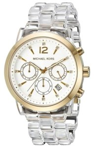 Michael Kors New Michael Kors Audrina Gold Clear Acetate Womens Chronograph Watch MK6200
