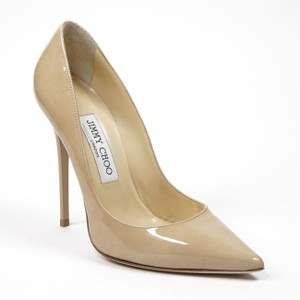 Jimmy Choo Anouk 36/6 Nude Patent Leather Pointed Toe Pump Wedding Shoes