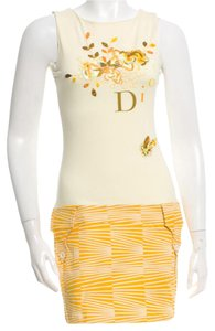 Dior short dress Yellow, White Logo Floral on Tradesy