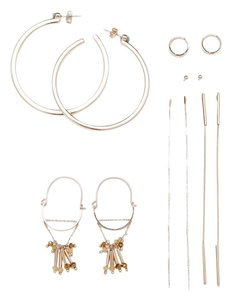 Zara NEW!!! Tags Zara Pack of Gold Hoop Long Chain Earrings NWT