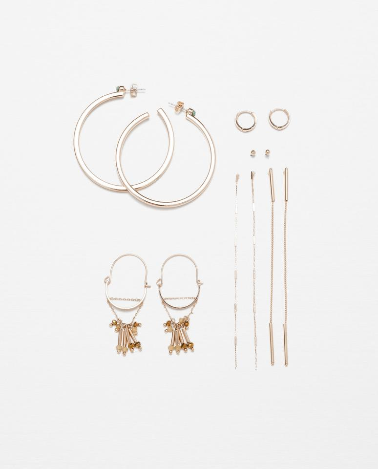 Zara Gold New Tags Pack Of Hoop Long Chain Earrings - Tradesy