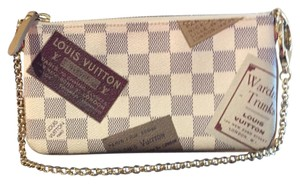 Louis Vuitton Limited Edition Milla Pochette Damier Azur/ white/ grey/brown Clutch