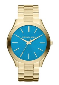 Michael Kors Michael Kors Women's Gold-Tone Blue Turquoise Dial Slim Runway Watch MK3265
