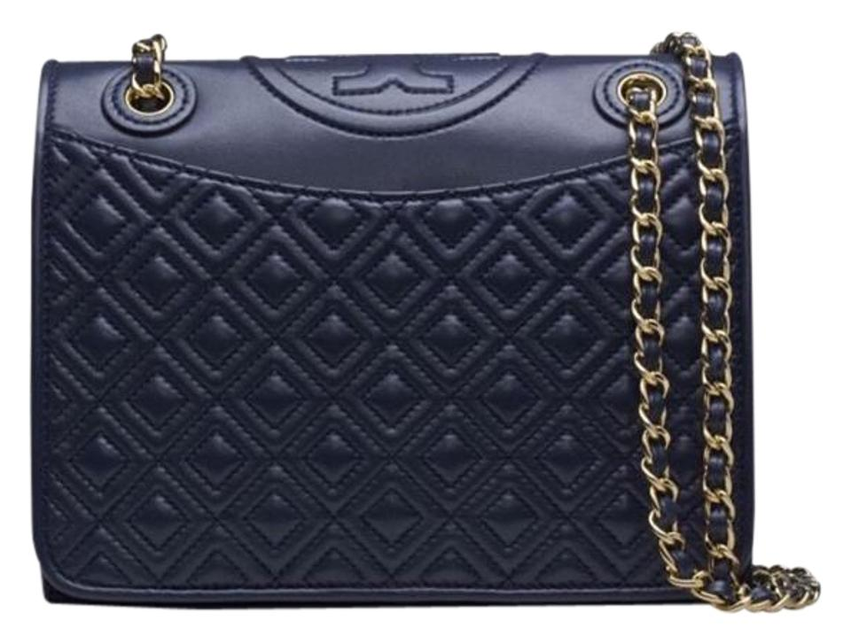 cc0c9842f46 Tory Burch Fleming Medium Quilted Navy Leather Shoulder Bag - Tradesy