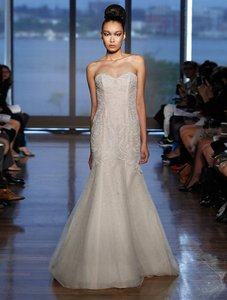 Ines Di Santo Soft Cameo (Light Pink/Nude Tone) Beaded French Tulle with Swarovski Crystals Alexa Formal Wedding Dress Size 10 (M)