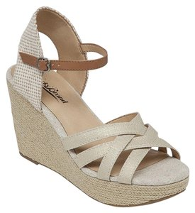 Lucky Brand Espadrille Sandals Open Toe Beige Wedges