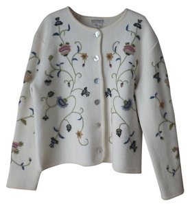 Coldwater Creek Wool Embroidered Cream Jacket