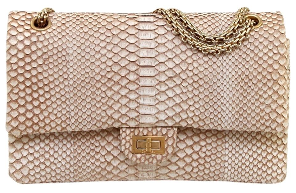 15599cb11cf2 Chanel 2.55 Reissue Jumbo Classic Tan Python Gold Hw Shoulder Bag ...