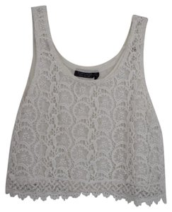 Topshop Crop Lace White Top White/Lace