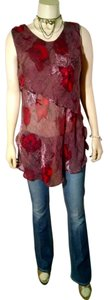 URU Size Medium Silk Sleeveless P1113 Top burgundy